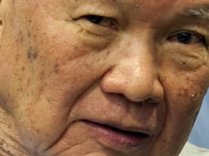 The former Khmer Rouge head of state, Khieu Samphan, in the courtroom in Phnom Penh.