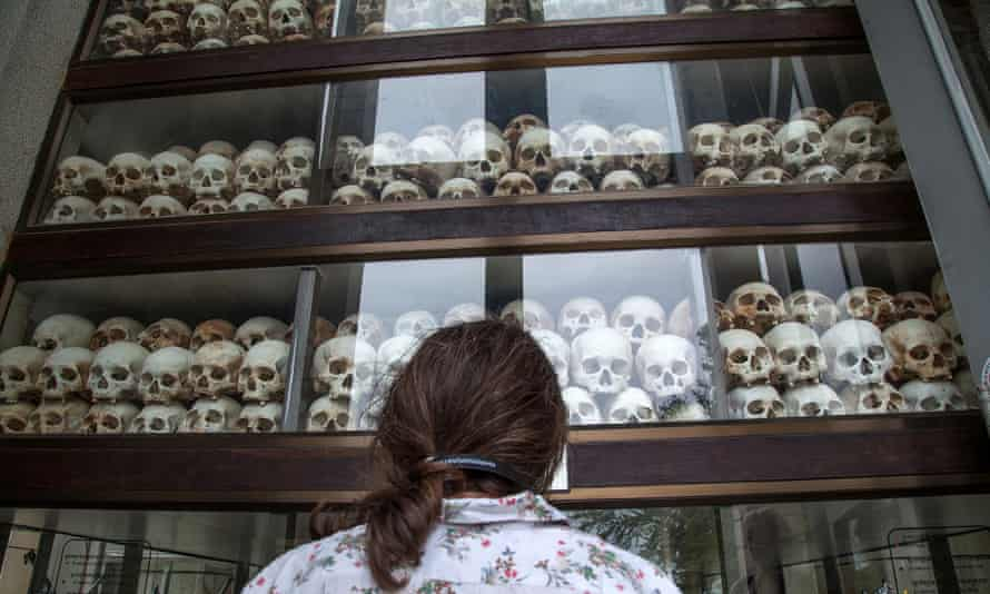 A stupa commemorating Cambodia's Choeung Ek Killing Fields filled with thousands of skulls of victims of the Khmer Rouge regime.