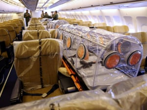The interior of a Spanish Air Force Airbus A310  equipped with medical and security measures, before it departed for Liberia, to repatriate Spanish priest Miguel Pajares, who is infected with the ebola virus.