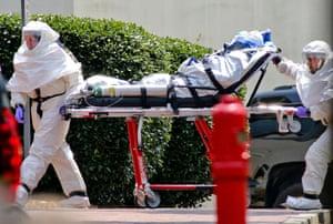 Nancy Writebol, an American aid worker, arrives at Emory University Hospital in Atlanta.