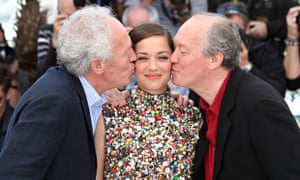Jean-Pierre and Luc Dardenne with Marion Cotillard at the Cannes film festival