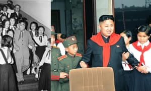 Kim Il-sung poses for photos with a group of young Korean pioneers during a visit to East Germany in 1956. In 2012, the younger Kim attends the 66th anniversary of the founding of the Korean Children's Union in Pyongyang.