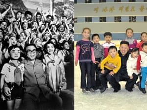 In 1978 Kim Il-Sung is evidently enjoying the music and dance performance by the Pyongyang student art troupe.  In 2012 Kim Jong-Un wears the same pleased grin and similarly drapes himself with children when he visits Pyongyang ice rink.