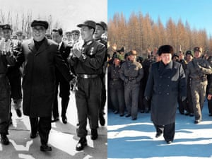 Both Kims receive applause as they soldier on through the cold, donning winter coats and hats and those familiar smiles.