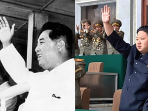 Both Kims greet their people with a salute.