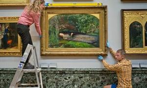 Tate Britain staff rehang John Everett Millais's Ophelia