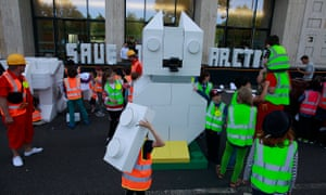 Children protest outside Shell's HQ in London