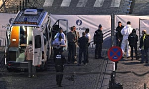 Police at the site of a shooting at the Jewish Museum in Brussels