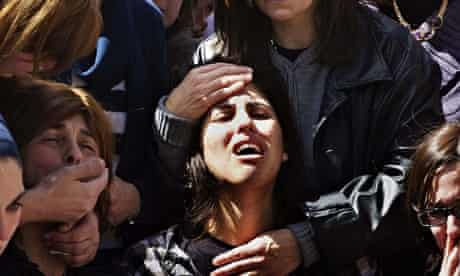 Mother of Miriam Monsonego at funeral of her daughter