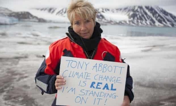 Emma Thompson holding Tony Abbott sign