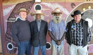 "2012 Indigenous Governance award finalists Warlpiri Youth Development Aboriginal Corporation elders, Cecil ""Crocodile"" Johnson and Jangala Rice with award chair Professor Mick Dodson and judge Dr Simon Longstaff."