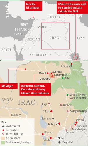 Map of Iraq air strikes