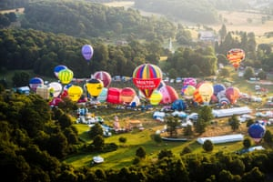 Hot air balloons lift off at the 36th international balloon fiesta, Europe's largest ballooning event near Bristol
