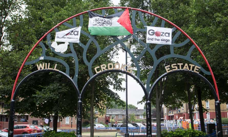 The flag at the entrance to Will Crooks estate.
