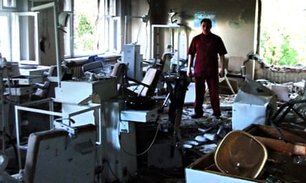 A hospital damaged in a shelling attack in Donetsk.