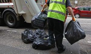 Hot work - a refuse worker toiling away in balmy Edinburgh