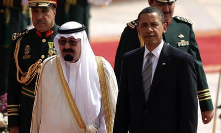 Saudi king Abdullah bin Abdul Aziz al-Sa with Barack Obama