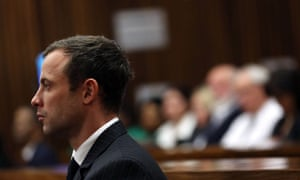 Oscar Pistorius listens during closing arguments in his murder trial at the high court in Pretoria.