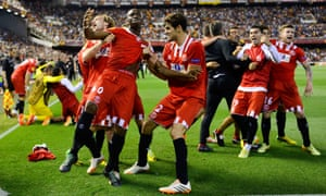 Stephane Mbia of Sevilla FC celebrates after scoring his team's first goal during the UEFA Europa League Semi Final second leg match between Valencia CF and Sevilla FC at Estadi de Mestalla , 2014.