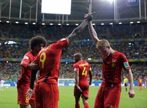 Belgium's Romelu Lukaku, left, celebrates with Kevin De Bruyne after scoring his side's second goal during the World Cup round of 16 soccer match between Belgium and the USA at the Arena Fonte Nova in Salvador, Brazil, 2014.