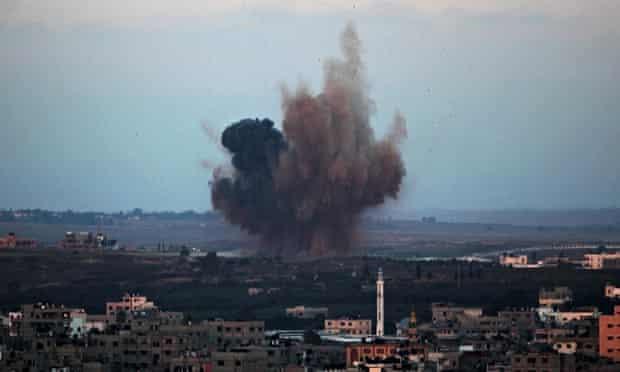 Smoke rises following an Israeli air strike in Gaza City