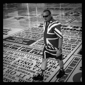 A punk in Blackpool's famous Comedy Carpet