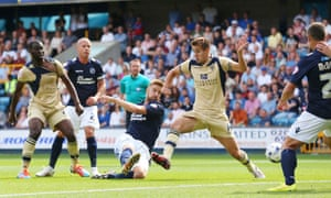 Mark Beevers of Millwall scores their first goal of this season at the Den.