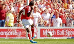 Nottingham Forest's Michail Antonio scores the opening goal during against Blackpool at the City Ground, Nottingham.