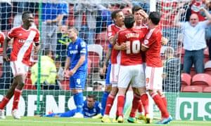 Middlesbroughs's Daniel Ayala is mobbed after scoring at the Riverside Stadium.