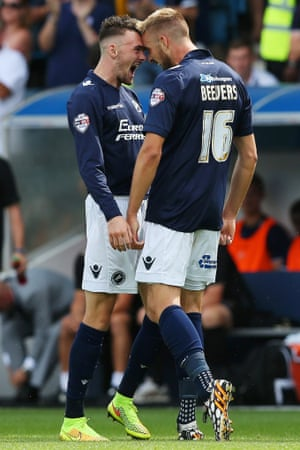 Millwall's Mark Beevers has a good shout after his goal.