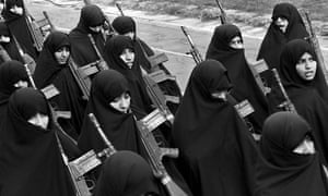 Iranian basij women marching
