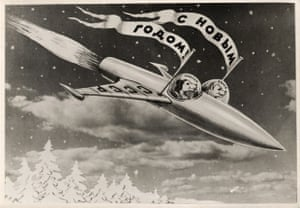 Belka Strelka postcard, USSR (1960)