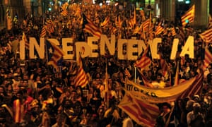 Catalan nationalists demonstrating in Barcelona in 2012.