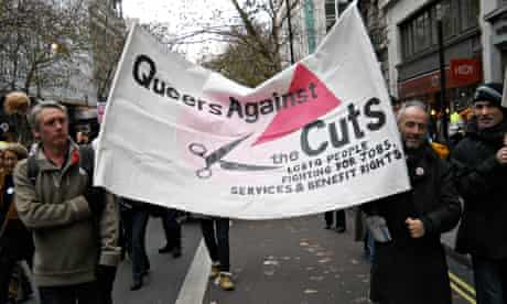 Queers against the cuts banner at London march