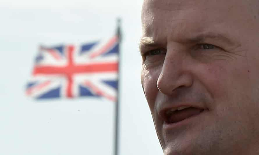 Member of Parliament Douglas Carswell speaks on the seafront of Clacton-on-Sea in south east England