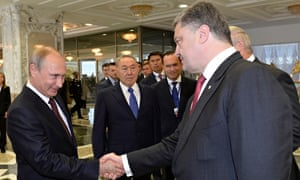 Vladimir Putin, left, with Ukraine's Petro Poroshenko in Belarus as Nursultan Nazarbayev looks on