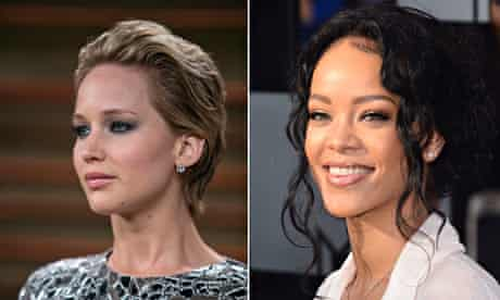 Jennifer Lawrence, left, and Rihanna, who had hacked pictures of themselves posted on 4chan