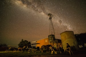 Night at Maria Fehr farm, Colonia Oriente. Mennonites like to spend some time chatting under the stars before going to sleep.