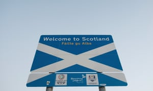A Welcome to Scotland sign on the Scottish border.