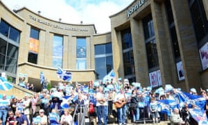Yes Campaign Flash Mob at Glasgow Royal Concert Hall.