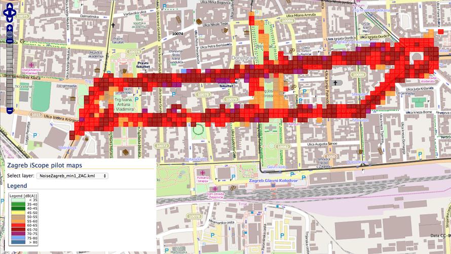 Zagreb noise map