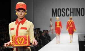 Take out: a model presents a creation for fashion house Moschino at Milan fashion week.