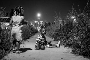 Day #256 Young children watch the Detroit fireworks from Brush Park