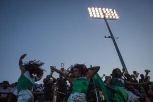 Day #492 Detroit Cass Tech cheerleaders cheer on their team at Wayne State University stadium