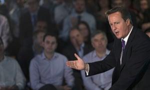 David Cameron speaks during a visit to Scottish Widows offices in Edinburgh.