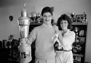 July 1986 Ian Rush and his girlfriend Tracy with the Sports Writers Footballer of the Year and the PFA Player of the Year trophies at home near Chester.