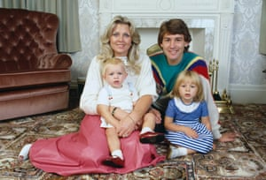 September 1983 England and Manchester United captain Bryan Robson at home with his wife Denise and daughters Charlotte, aged 1, and Claire, aged 3.