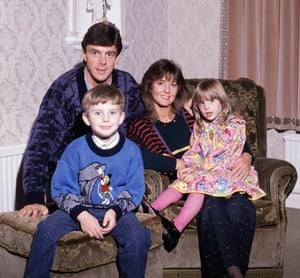 Arsenal's David O'Leary at home with his family - wife Joy and children John and Ciara.
