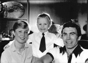 Trevor Brooking at home with his wife Hilkka and son Warren in what looks like a selfie.