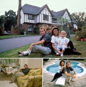 Trevor Francis with wife Helen and family at home.